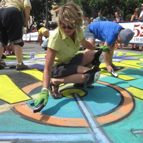Pro Challenge Bike Race Chalk Art Finale, Fort Collins Colorado Downtown Business Association