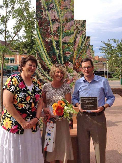 Dedication to the City, Mayor Karen Weitkunat, Executive  Director Matt Robenalt Sustainable Gardens Art in Action Fort Collins Colorado Public Art Downtown Development Authority Colorado Artist Lisa Cameron Russell Lisa J Cameron Artworks LLC