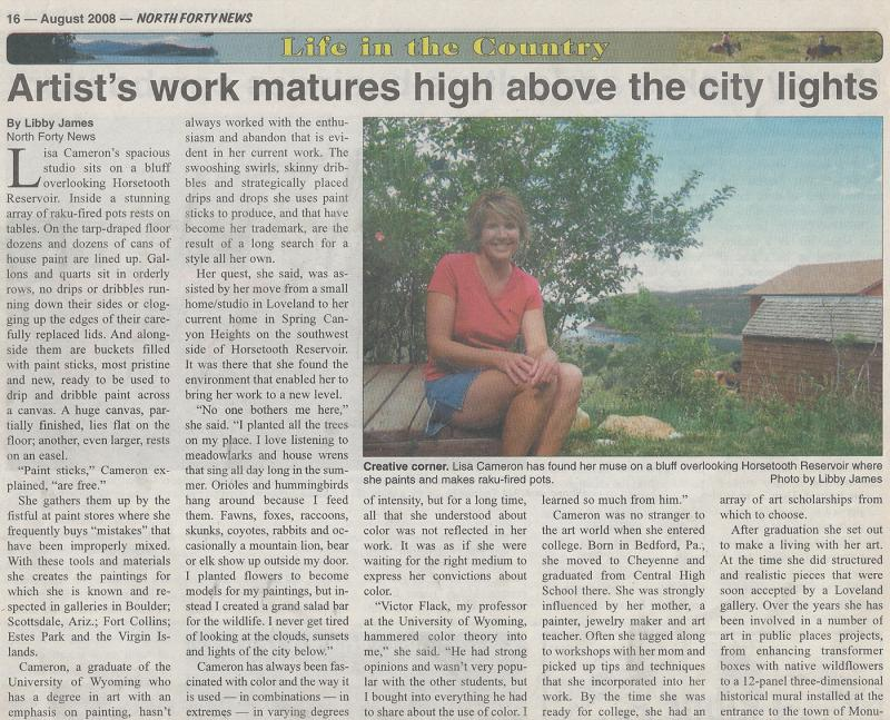 North Forty News, Life in the Country, August 2008, artist work matures, Lisa Cameron Russell, Libby James
