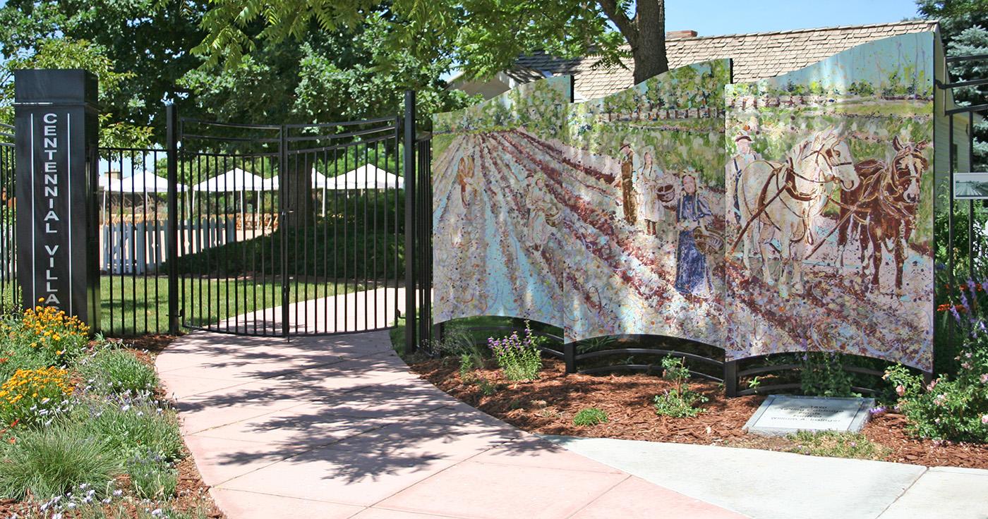 Go West, Centennial Village Museum, Greeley Colorado Public Art, Art Fence by Fort Collins, Colorado Artist Lisa Cameron Russell of Lisa J Cameron Artworks LLC