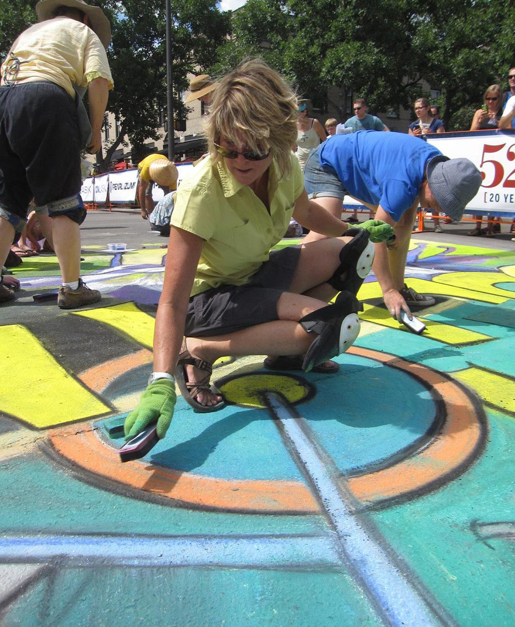 Pro Challenge Bike Race Chalk Art Finale, Fort Collins Colorado Downtown Business Association