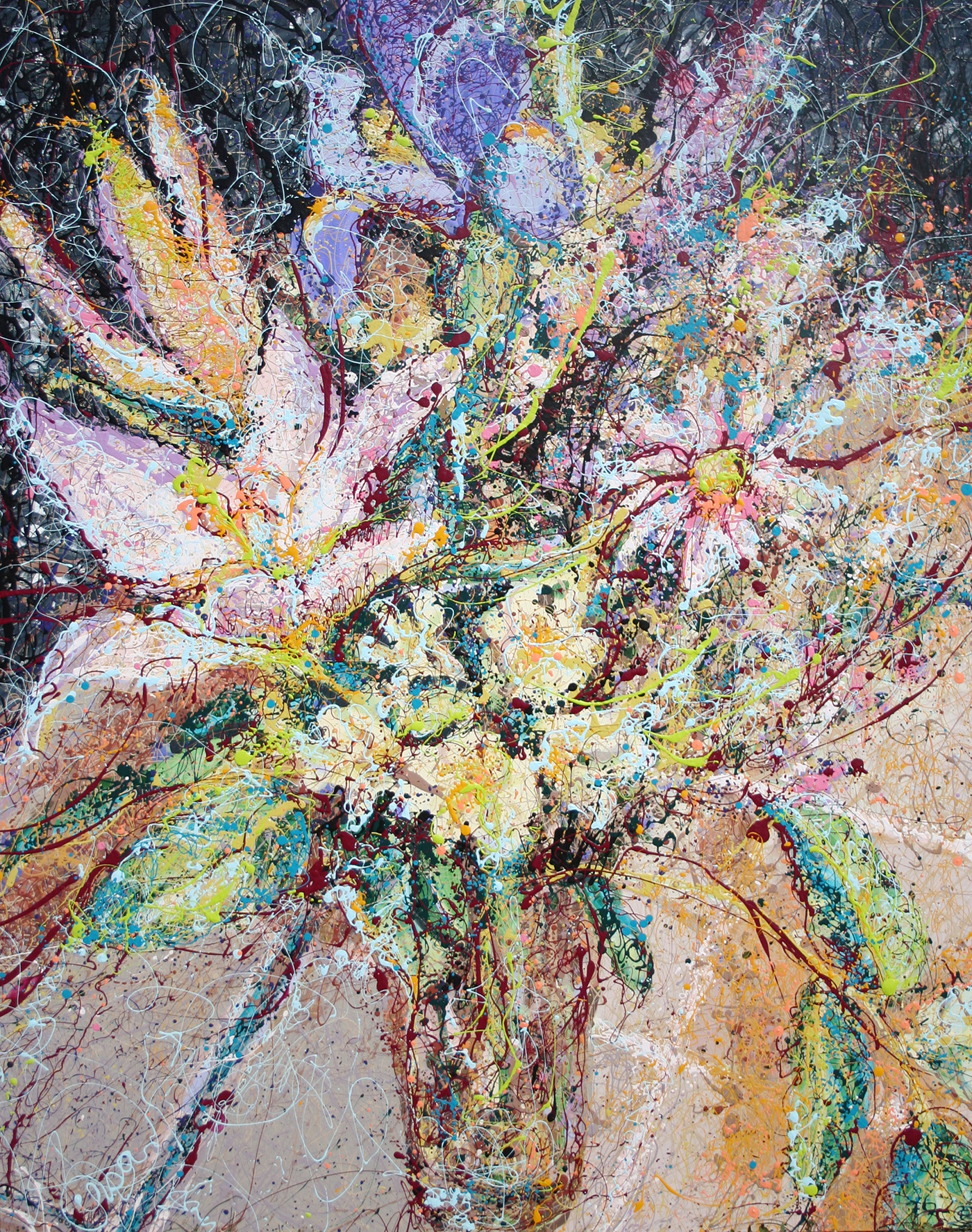 Floral Latex Enamel Painting on Gallery Wrapped Canvas by Fort Collins, Colorado Artist Lisa Cameron Russell
