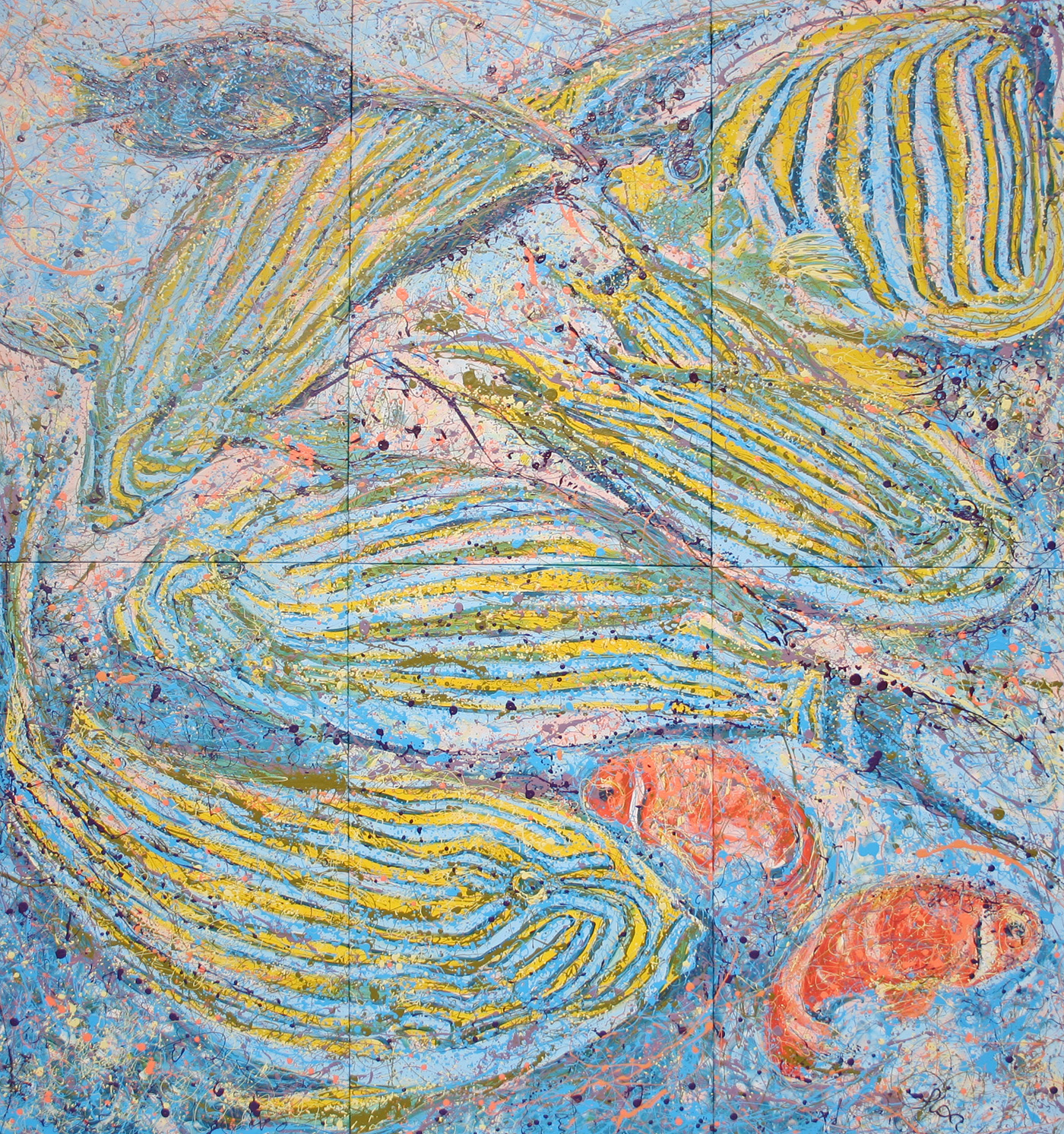 Pacific Snapper Latex Enamel Painting on Gallery Wrapped Canvas by Fort Collins, Colorado Artist Lisa Cameron Russell