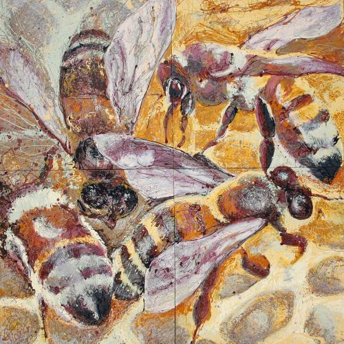HoneyBee Latex Enamel Painting on Gallery Wrapped Canvas by Fort Collins, Colorado Artist Lisa Cameron Russell