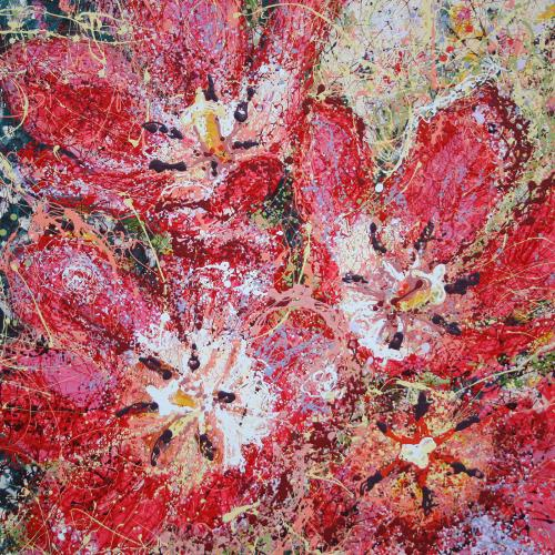 Red Tulip Latex Enamel Painting on Gallery Wrapped Canvas by Fort Collins, Colorado Artist Lisa Cameron Russell