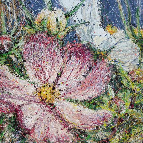 Cosmos Flower Latex Enamel Painting on Gallery Wrapped Canvas by Fort Collins, Colorado Artist Lisa Cameron Russell